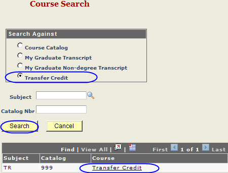 You may add courses from the course catalog, NC State graduate career transcript, NC State non-degree transcript, or as transfer credit. In the search fields enter a subject.