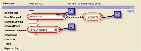 Step 1 Step 2 Page / Tab Steps Add a new effective dated row on the Student Milestones tab. Milestones are allowed only one row per effective date.
