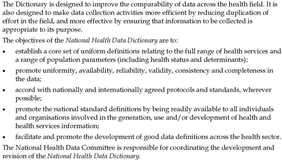 Figure 3. Excerpt on format and structure of the Australian national data dictionaries.