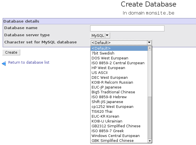 To create a new database click on the Create a new database button. You can now enter the desired name of the database.