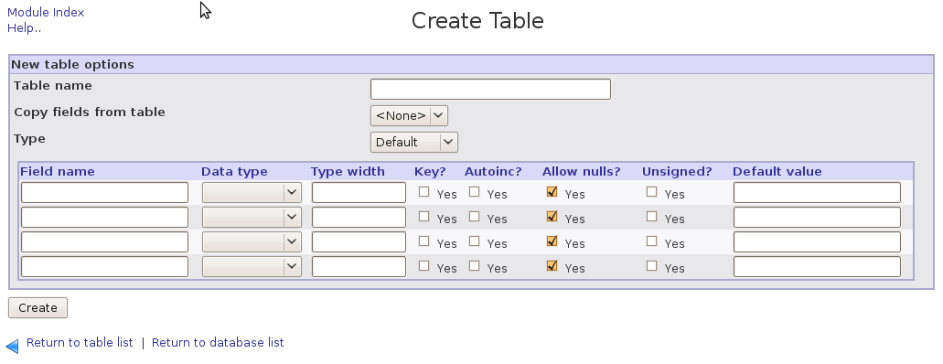 12. Advanced MySQL management Via the menu Webmin -> Servers -> MySQL Database server, you can: Create a new table Create View (view your tables and data) Execute SQL queries Make a backup of the