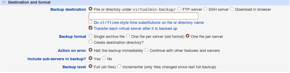 Finally, you must indicate in which directory the backup must be saved. There are multiple options, and you can even choose to download the backup file directly through your browser.