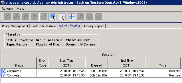 Monitor activity using the Activity Monitor. For example: RESTORE Before performing a database restore, carefully review all restore options.
