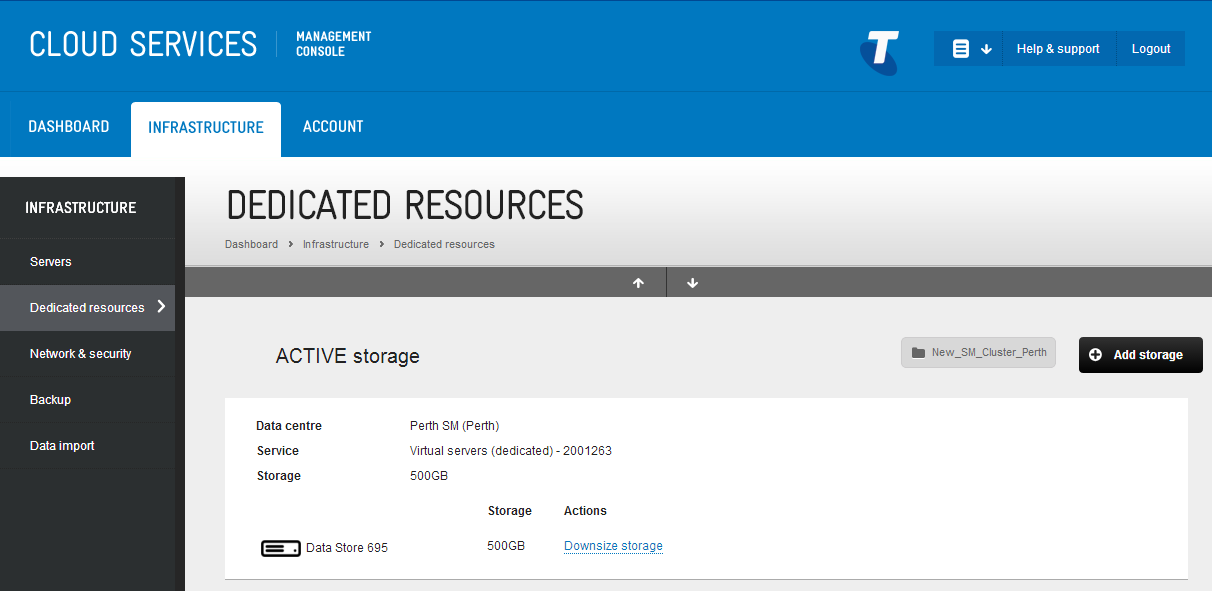Downsize storage (datastore) On the storage details page for each cluster, a Downsize option appears alongside your datastore(s).