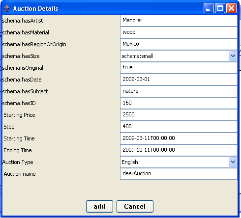 Figure 23 Semantic Analysis Engine The customer can select a specific auction and view its URL in the text area located at the top of the Semantic Analysis window by pressing the show details button.
