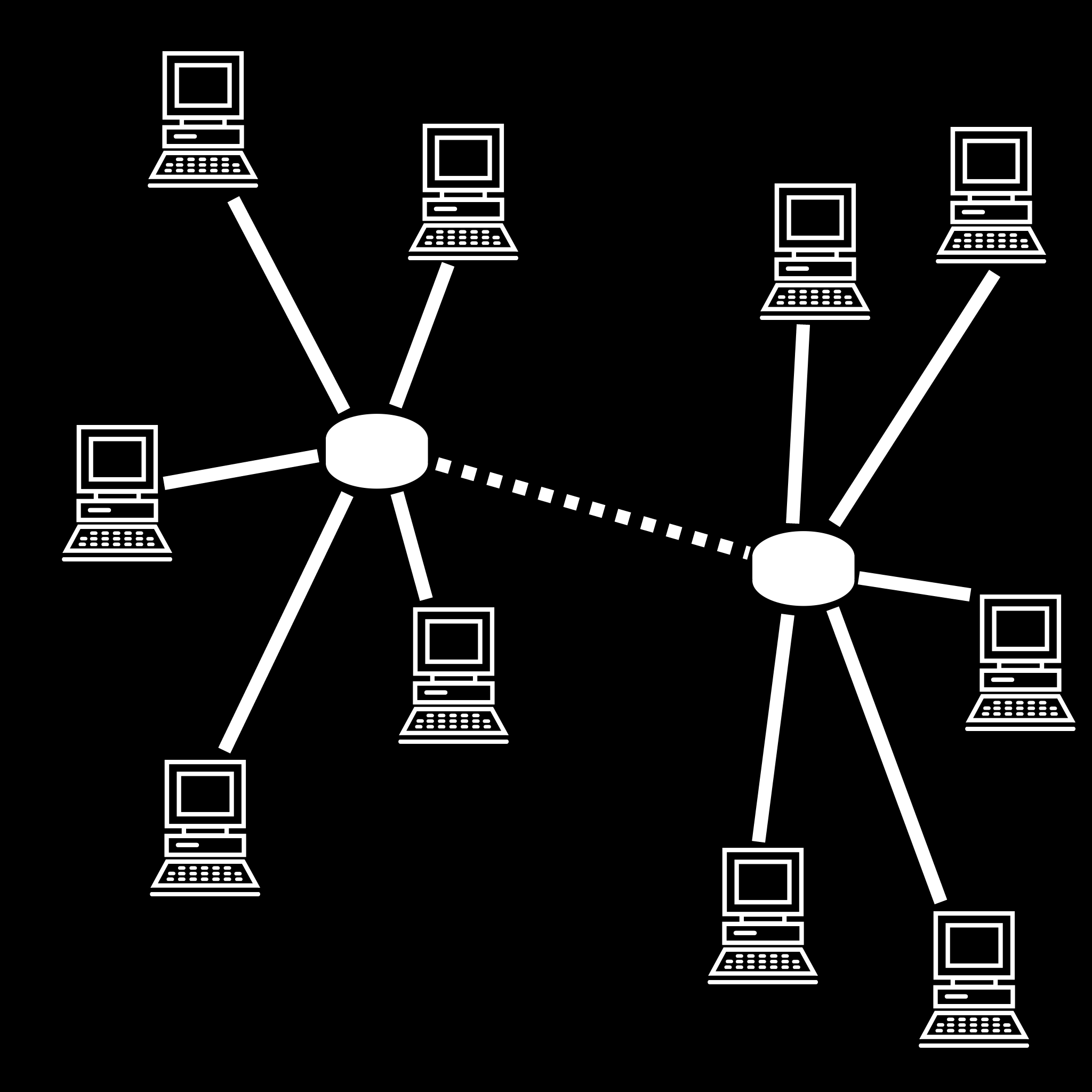 Figure 2.2: Potential for redundant data transmission in a peer-to-peer network. In this figure, there are two clusters of peers, but the clusters are connected by a single slow link.