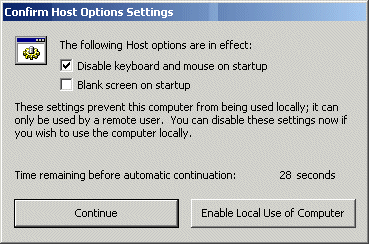 Host Operation Select None for the termination of a Master user connection to have no effect on the Host computer (this is the default setting).