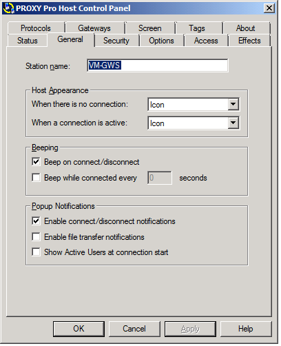 Host Operation General tab Use the General tab to change preferences.