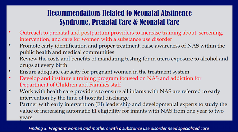 The Massachusetts Neonatal Abstinence Syndrome (NAS) improvement project was launched in 2013 with the goal of improving the care of infants impacted by NAS as well as their families.