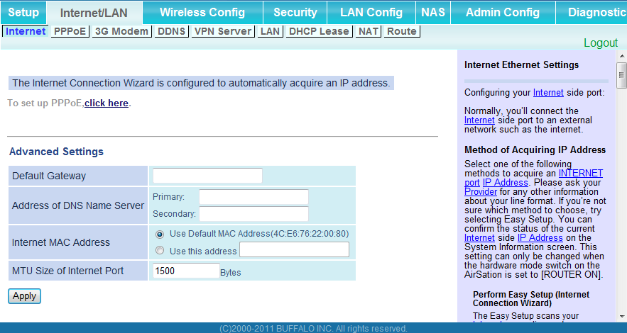 Chapter 4 Configuration Internet/LAN (LAN Config) Internet (Router Mode only) Configure the WAN-side port ( Internet port ).