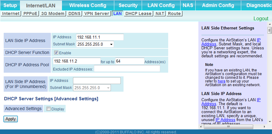Chapter 4 Configuration LAN Configure LAN-side and DHCP Server settings.