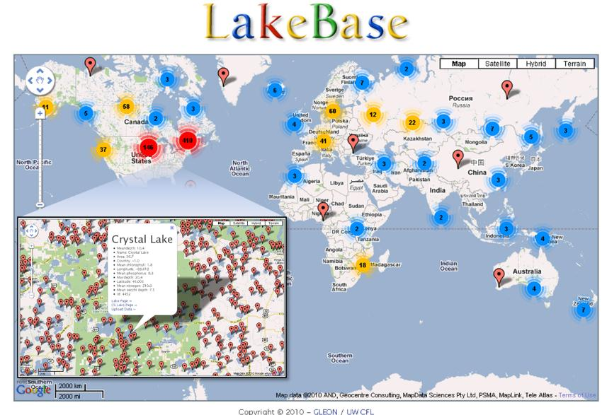 Global Lake Ecological Observational Network (GLEON) Lakebase: harvest quality data from internet and collect more than ~25,000 lakes