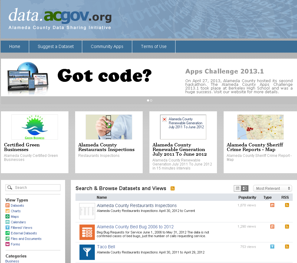 Socrata created a lot of popular open data portal such as Alameda