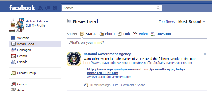 Scenario 3b: RightNow Integration with Facebook A customer, already a fan of the National Government Agency fan page, logs into Facebook and notices the latest NGA post on the newsfeed about the top