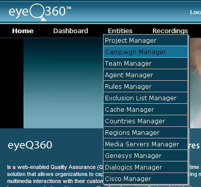 EyeQ360 provides data for all monitored calls, Call Monitoring Data by call center and monitoring session accessible through a standard Web browser and media player on the client workstation.