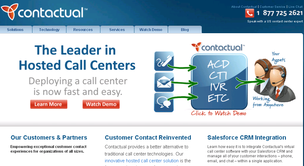Contactual at a Glance Pioneered virtual contact center solutions in 2000 Award