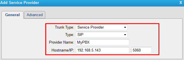 Figure 4 Trunk Type: Service Provider Provider Name: MyPBX Hostname/IP: 192.168.5.143 After saving and applying the changes, you will see the trunk is Registered in Line Status.