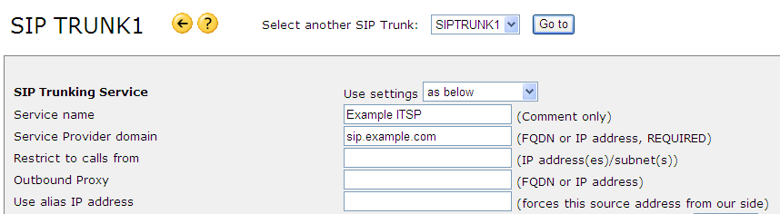 5.2 [Method 2] Manual Setting of SIP Trunking 5.2-1 Move the mouse over [Applications] and select [SIP Trunk]. 5.2-2 Configure SIP Trunking Service Item Configuration Description Service name Example ITSP Comment only, Example Service Provider domain sip example.