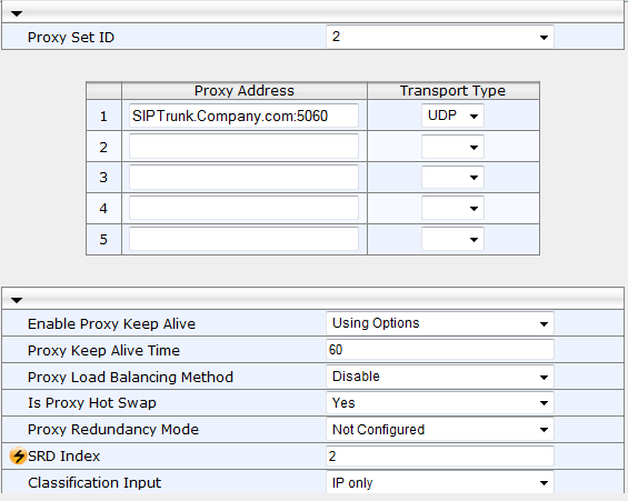Connecting Microsoft Lync 2010 to a SIP Trunk 3. Add a Proxy Set for the SIP Trunk: a.