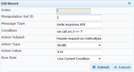 Configuration Note A. Configuring E-SBC to Send 414 Request-URI Too Long Response Figure A-3: Manipulation Rule to Set a Variable to '1' in Case of Long-URI Call c. Click Submit. 3.