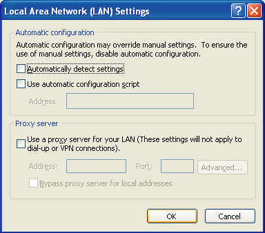 3.2.1 Preparing the PC 6. a. Click the Connections tab. b. Select Never dial a connection if necessary. c. Click LAN Settings. 7.