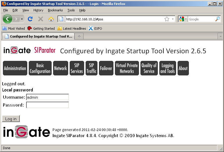 2.4.9 InGate configuration for connecting to EarthLink s MetaSwitch Application Server Once the InGate Start-up Tool process has been completed, the steps below outlines the required configuration to