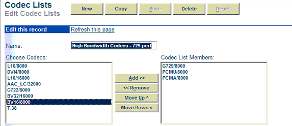 Highlight G729/8000, and add to Codec list members. Highlight PCMU/8000, and add to Codec list members.