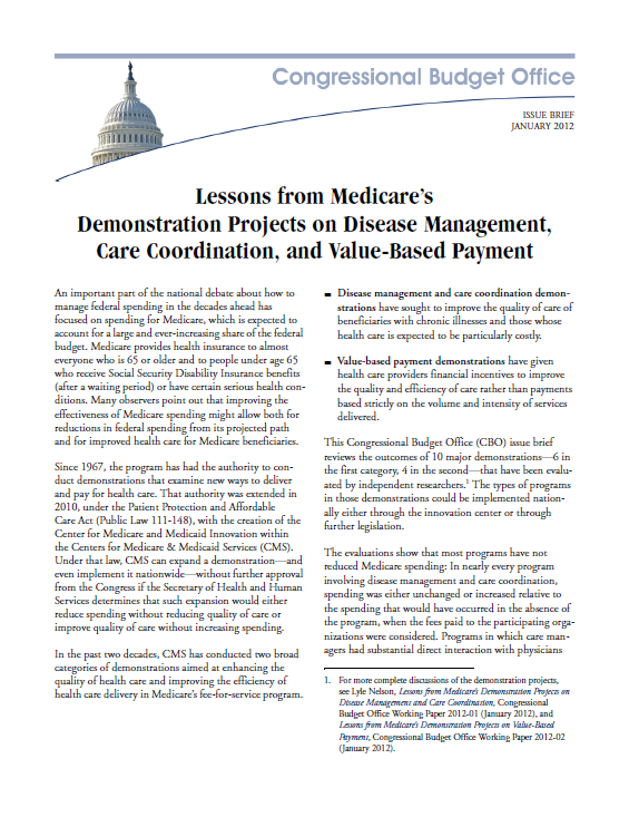 ACO s Estimated Impact Congressional Budget Office Reviews the outcomes of 10 major demonstrations In nearly every care coordination program spending was either unchanged or increased For value-based