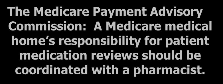 ACOs & Medical Homes The Medicare Payment Advisory Commission: A Medicare medical home s responsibility for patient medication reviews should be
