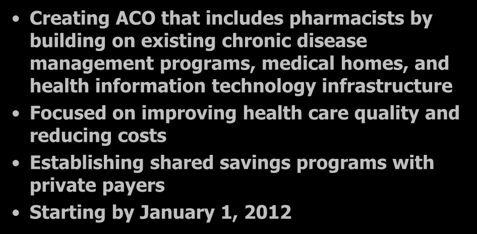 Baylor Health Care System Creating ACO that includes pharmacists by building on existing chronic disease management programs, medical homes, and health information technology