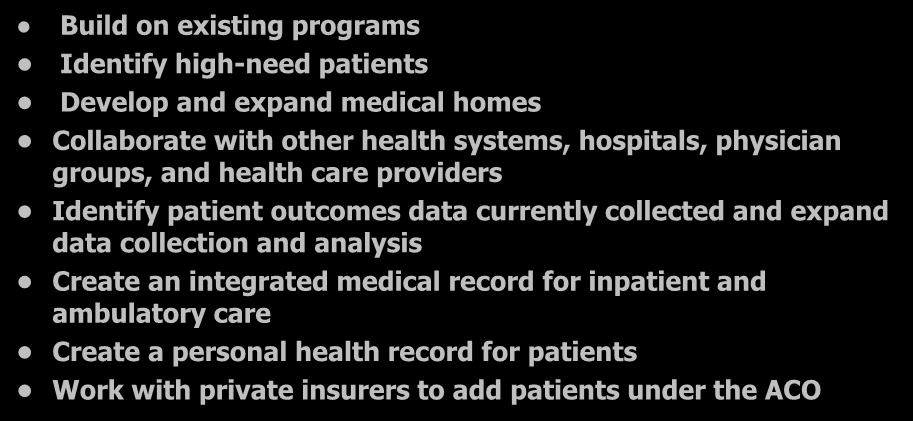 8 Core Principles (Based upon Baylor Model) Build on existing programs Identify high-need patients Develop and expand medical homes Collaborate with other health systems, hospitals, physician groups,