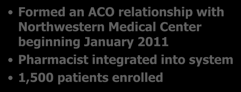 Walgreen s Northwestern University Collaboration Formed an ACO relationship with Northwestern Medical Center beginning January 2011 Pharmacist