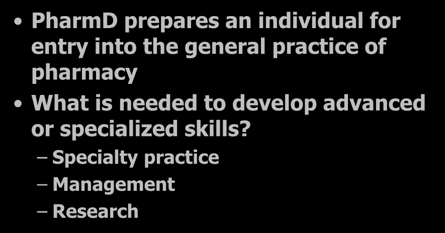 Advanced & Specialized Skills Development PharmD prepares an individual for entry into the general practice