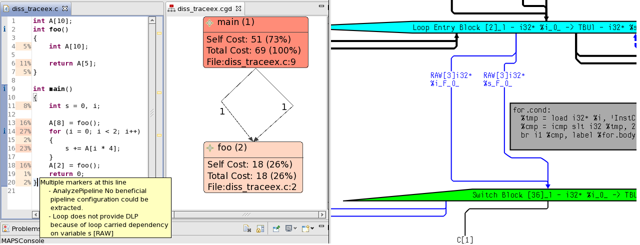 80 Chapter 5. Sequential Code Flow Figure 5.4: Sample analysis results in the MAPS IDE. execution, as defined in Section 2.4.1.4, ˆt seq = s BB ζpt tb (s).