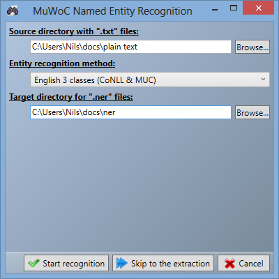 3.3 Graphical user interface (GUI) Figure 3.2: MuWoC s NER settings window. 3.3.1.2 Progress window The NER window is hidden while the recognition is being performed.