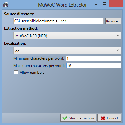 3.3 Graphical user interface (GUI) Figure 3.5: MuWoC s extraction settings window. 3.3.1.4 Word extraction The next window is for the extraction of the words and entities and can be seen in figure 3.