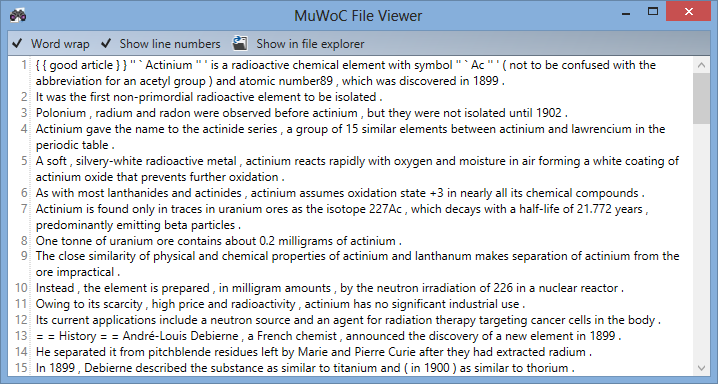 3.3 Graphical user interface (GUI) Figure 3.14: The source viewer with extracts from a single file. MuWoC uses AvalonEdit in a read-only mode to display the text content from the source files.