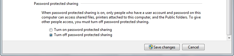 file and printer sharing, Turn on sharing so anyone with