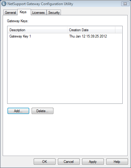 Gateway Configuration Creating Keys Access to a Gateway/Name Server is protected by use of a Security Key.