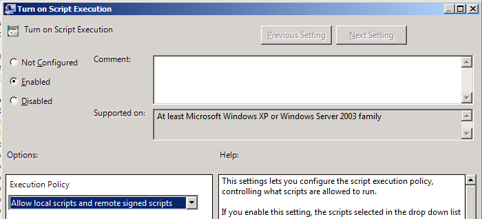 This will allow scripts to run on the machine, while requiring that scripts downloaded from the internet to have been signed with a code signing certificate.