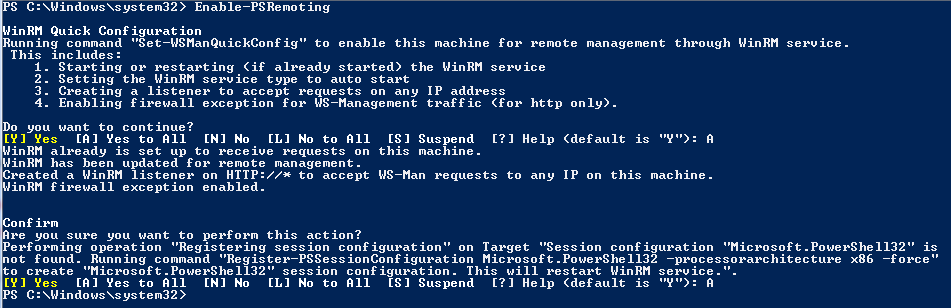 Chapter 2: Enable/Disable PowerShell remoting Remoting in PowerShell 2.0 can be enabled by just running the following cmdlet in an elevated PowerShell prompt Enable-PSRemoting Yes. That is it.