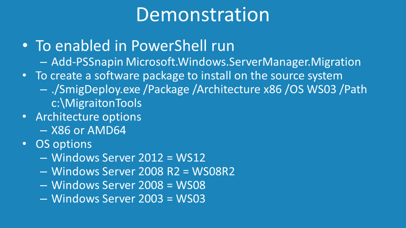Demonstration In the demonstration, DHCP will be migrated for a server running Windows Server 2003 to Windows Server 2012 R2, however the procedures are much the same regardless of which operating