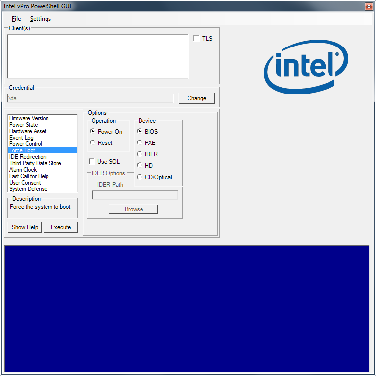 5.7 Intel AMT PowerShell GUI The Intel AMT PowerShell Graphical User Interface (GUI) provides a simple interface for invoking a majority of the commands supported within the module. 5.7.1
