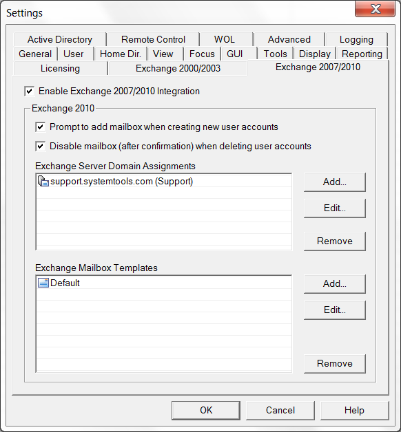 The Exchange 2010 settings will look similar to this: Hyena must be restarted after these changes.