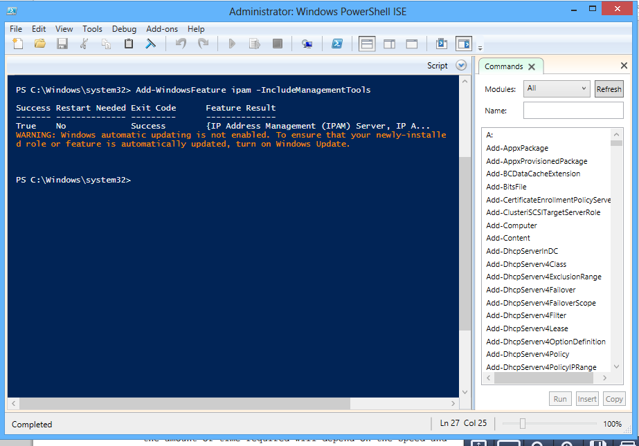 IPAM Installation Using PowerShell(PS) Step 1: Open the Power shell and type the Command: Add-Windows Features ipam IncludemanagementTools Whatif( will let us