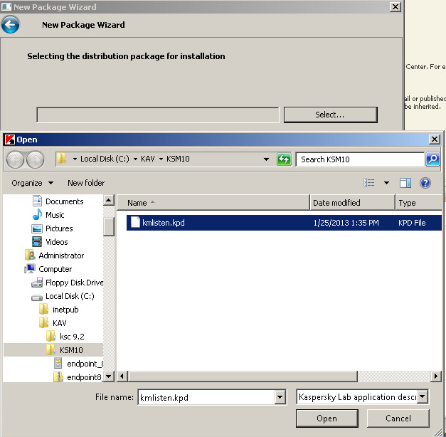 On Selecting the distribution package for installation page click Select and browse to the folder where you extracted sc_package_en.exe archive (C:\KAV\KSM10). Click kmlisten.kpd and click Open.