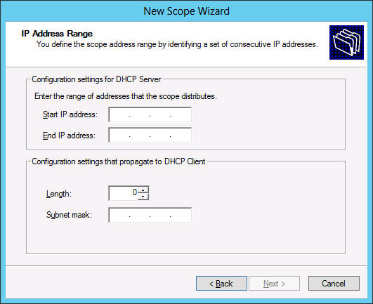 FIGURE 4-8 The Address Range page in the DHCP console. 7. In the Start IP Address text box, type the first in the range of addresses you want to assign.
