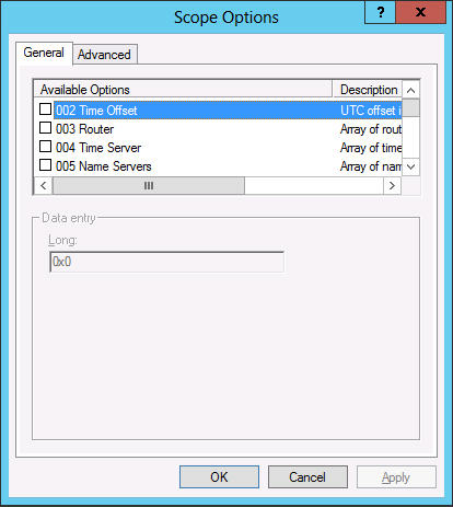 The Windows DHCP server supports two kinds of options: Scope options Options supplied only to DHCP clients receiving addresses from a particular scope Server options Options supplied to all DHCP