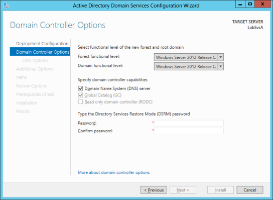 FIGURE 5-1 The Deployment Configuration page of the Active Directory Domain Services Configuration Wizard. 4. Click Next. The Domain Controller Options page open, as shown in Figure 5-2.