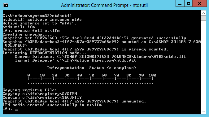 FIGURE 5-9 An Ntdsutil.exe command sequence. Once you have created the IFM media, you can transport it to the servers you intend to deploy as domain controllers by any convenient means.